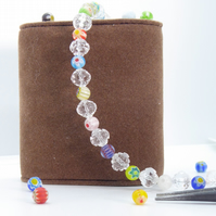 Multicolour Millefiori Glass Beaded Bracelet