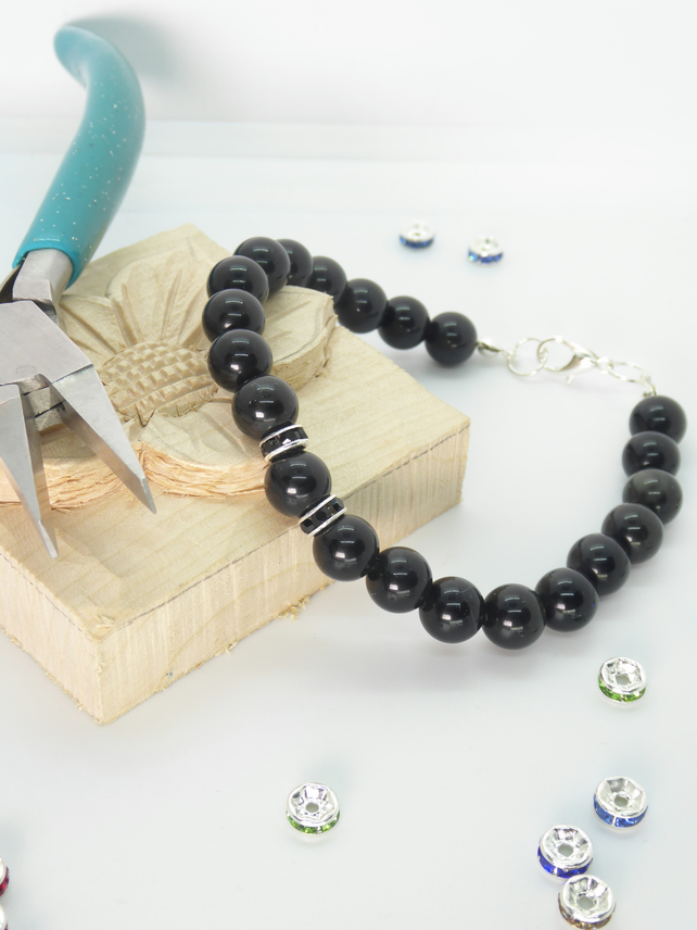 Black Obsidian Bracelet: made with 8 mm drilled round black obsidian beads