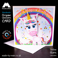 Handmade Card: Yellow Horn Unicorn Rainbow & Stars Have a Magical Birthday!