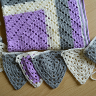 Crochet blanket and bunting for kids bedroom, Purple, Cream, Grey