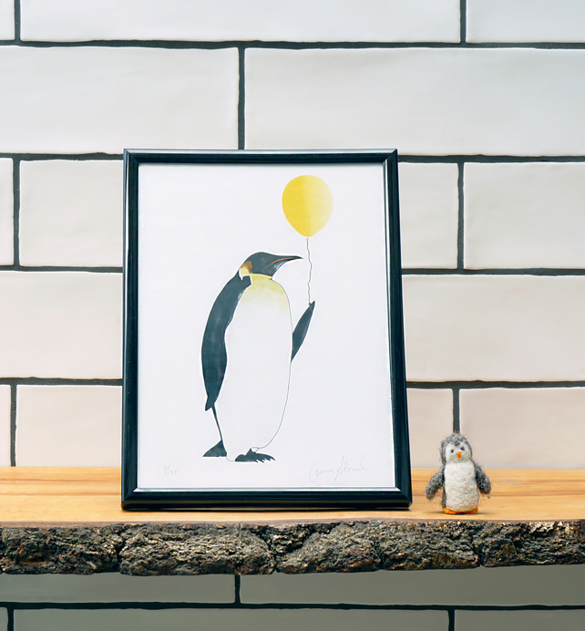 Penguin with Balloon. Perfect for a bathroom, nursery or a children's room