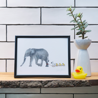 Elephant with Ducks - Perfect for a nursery or a children's room