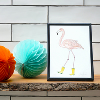 Flamingo in Wellies - Perfect for a living room, hallway or nursery