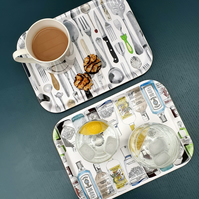 Decorative Tea Tray in Two Designs: Cutlery or Gin