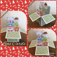 Handmade Christmas Pop Up Box Card Cute Christmas Characters Theme