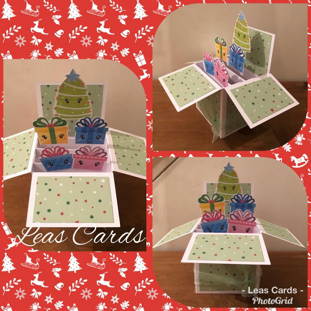 Handmade Christmas Pop Up Box Card Presents under the Christmas Tree Theme