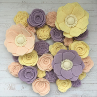 Pastel Garden Wool Felt Flower Collection - Set of 26