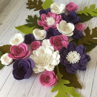 Rose and Grape Felt Flower Collection - Set of 33