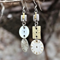 UK FREE SHIPPING - Upcycled steampunk vintage watch dial earrings