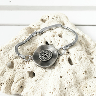 SALE - Upcycled lady's vintage watch straps - vintage metal buttons bracelet