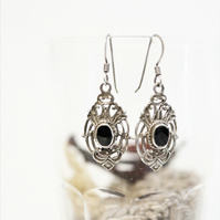 30%OFF-Victorian style 925 sterling silver vintage earrings featured black onyx