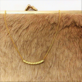 25% OFF - Wave pattern curved bar - Dainty gold tube pendant necklace