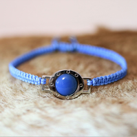 Blue agate stone hand knotted friendship bracelet