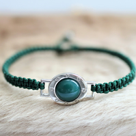 Green agate stone hand knotted friendship bracelet