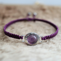 Semi precious amethyst hand knotted friendship bracelet