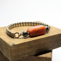 Red Banded Agate semi precious stone - up-cycled stretchable watch bracelet