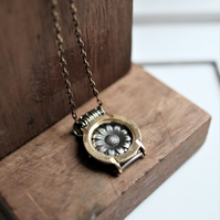 Unique gold color plated vintage watch case,vintage flower design charm necklace