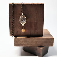 Unique gold color plated vintage watch case - vintage watch movement necklace