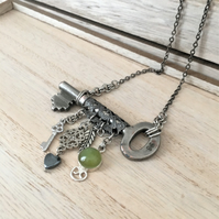 Up-cycled vintage key with a swallow, a mini vintage key charms necklace