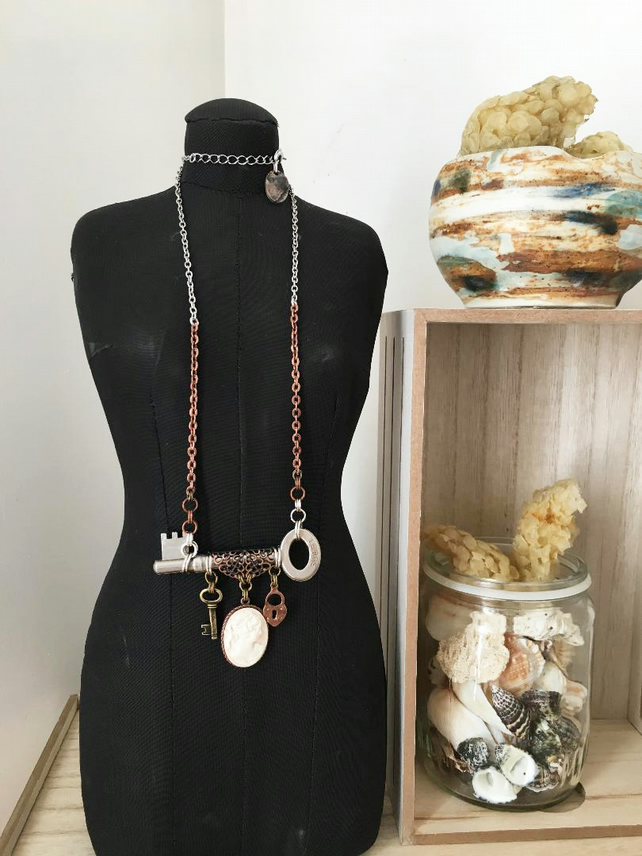 Up-cycled vintage key featured with vintage cameo charm statement necklace