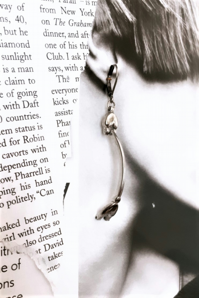 HALF PRICE - Recycled stainless steel vintage watch parts curve earrings