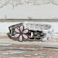 Pretty up-cycled flower charm vintage watch parts bracelet