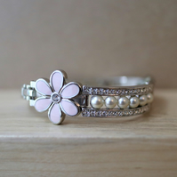 Pink flower - faux diamond and pearl - up-cycled stainless steel bracelet