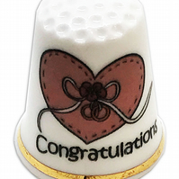 Personalised Fine Bone China Congratulations Heart Thimble, Wedding Gift