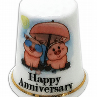 Personalised Fine Bone China Anniversary Thimble, Pig Anniversary Gift Thimble
