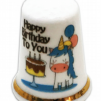 Personalised Fine Bone China Happy Birthday Unicorn Thimble, Unicorn Gift