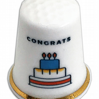 Personalised Fine Bone China Birthday Cake Congrats Thimble, Birthday Gift