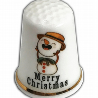 Personalised Fine Bone China Christmas Loose Headed Snowman Thimble,