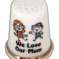 Personalised Fine Bone China Mum Thimble, Gift For Mum, Mother's Day Gift