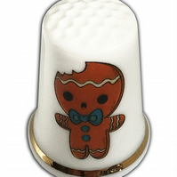 Personalised Fine Bone China Christmas Gingerbread Thimble, Personalised Thimble