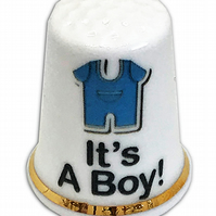 Personalised Bone China It's A Boy New Baby Gift Thimble, Personalised Thimble