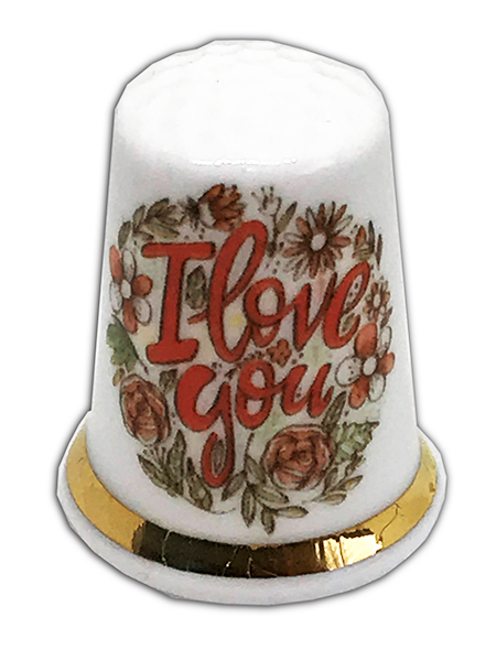 Personalised Fine Bone China I Love You Wedding Engagement Anniversary Thimble