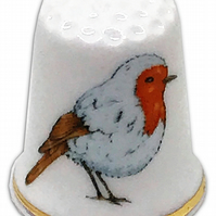 Personalised Fine Bone China Christmas Robin Thimble, Personalised Thimble