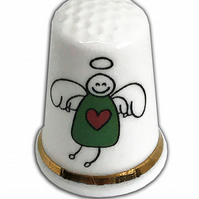 Personalised Fine Bone China Christmas Angel Thimble