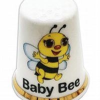 Personalised Fine Bone China Baby Bee Thimble