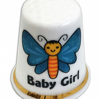 Personalised Fine Bone China Baby Girl Thimble