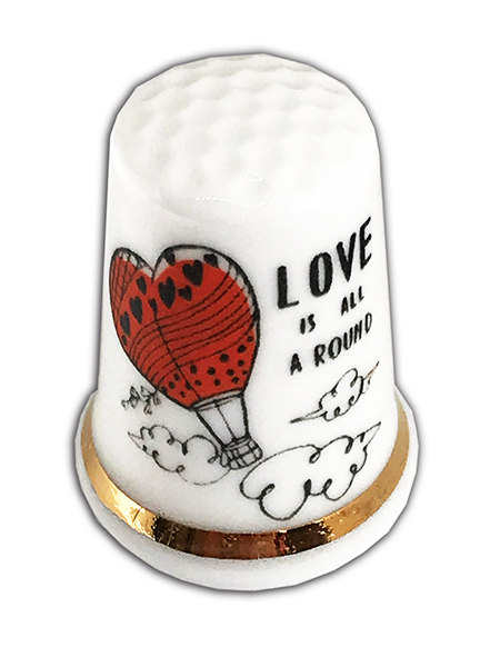 Personalised Fine Bone China Love Thimble, Personalised Wedding Engagement Gift