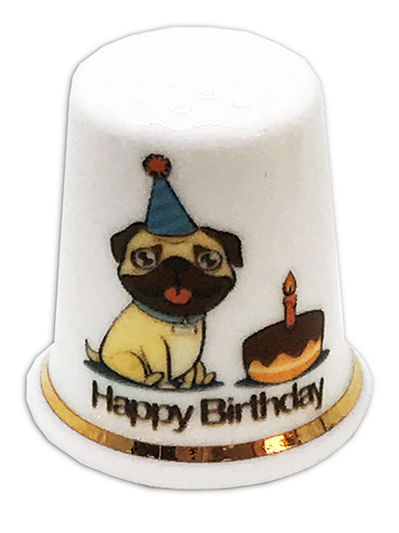 Personalised Fine Bone China Birthday Pug Thimble, Personalised China Thimble