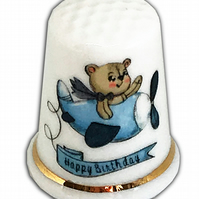 Personalised Fine Bone China Birthday Thimble, Child's Birthday Gift