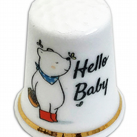 Personalised Fine Bone China Hello Baby New Baby Thimble