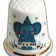 Personalised Fine Bone China New Baby Boy Elephant Thimble