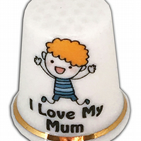 Personalised Fine Bone China I Love My Mum Thimble, Great Mother's Day Gift