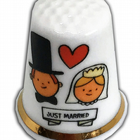 Personalised Fine Bone China Wedding Day Just Married Bride and Groom Thimble