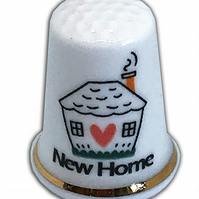 Personalised Fine Bone China New Home Thimble, House Warming Gift