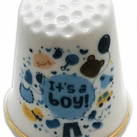Personalised Bone China New Baby Boy Thimble, New Baby Gift Present Christening