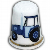 Personalised Bone China Blue Tractor Thimble, Ideal Christening New Baby Gift